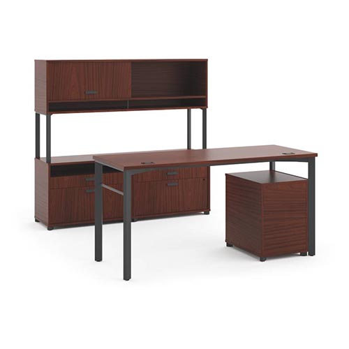 Manage Executive Workstation - Desk, 2 File Centers, Pedestal, Overhead