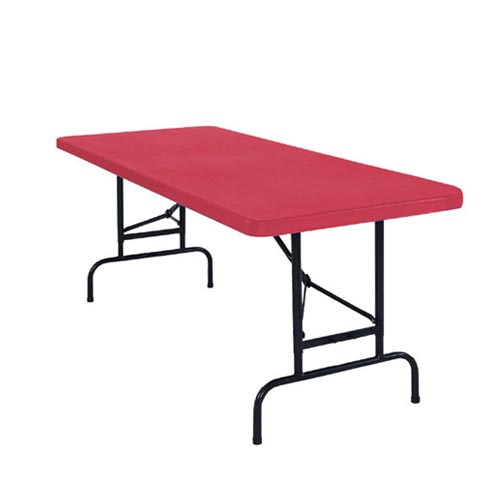 "Adjustable Height Folding Table Red- 30"" x 72"" x 1 3/4"""