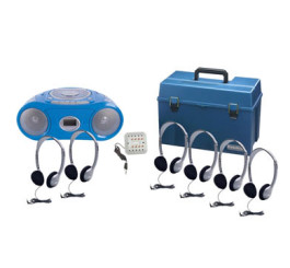 6 Person Listening Center with Bluetooth CD/Cassette/FM Boombox and Personal On-Ear Headphones