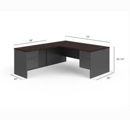38000 Series L-Shaped Computer Desk Finish: Mahogany Charcoal, Orientation: Desk on the Right