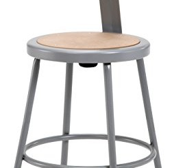 "National Public Seating 6224B Steel Stool with 24"" Hardboard Seat and Backrest, Grey"