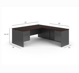 "HON HON38LL7284NS 38000 Series Left Handed L-Shaped Desk, 3/4 Height Pedestals, 2 Box Drawers, 2 File Drawers, 72"" x 84"" Footprint, Mahogany Laminate Top, Charcoal Metal Base"