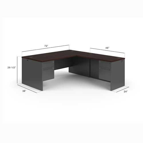 HON HON38LL7284NS 38000 Series Left Handed L Shaped Desk, 3/4 Height  Pedestals