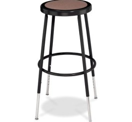 National Public Seating Adjustable Steel Stool - 25-33in.H, Black, Model# 6224H-10