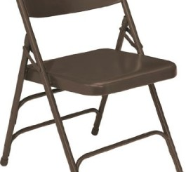 National Public Seating 303 Folding Chair, Triple Brace, Brown