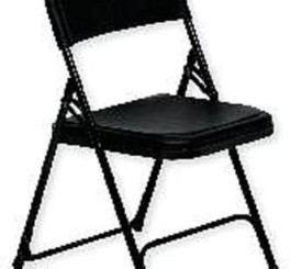 Folding Chair, Plastic, Black, PK4