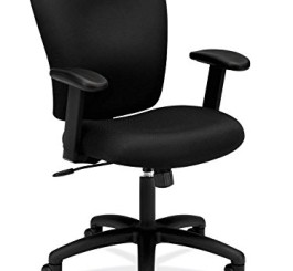 HON Mid Back Task Chair - Fabric Computer Chair with Arms for Office Desk, Black (HVL220)