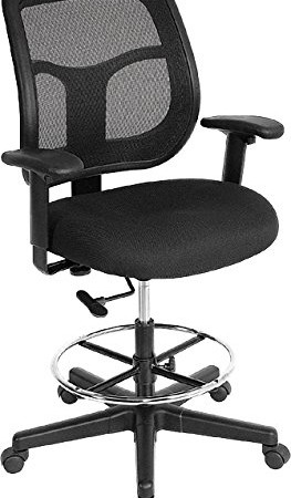 Eurotech Apollo Mesh Drafting Chair, 23.2 32.7 Inch Seat Height, Black  (DFT9800)