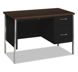 "HON 34000 Series Small Office Desk with 1 Box/1 File Drawer Laminate Black Finish, 45-1/4""W, Mocha"