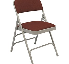 "National Public Seating 2308 Gray Metal Folding Chair with 1 1/4"" Majestic Cabernet Fabric Padded Seat"