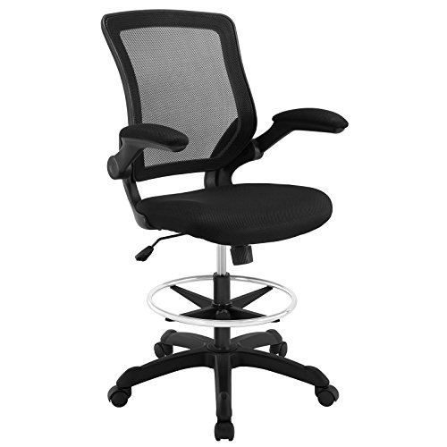 Modway Veer Drafting Chair In Black   Reception Desk Chair   Tall Office  Chair For Adjustable