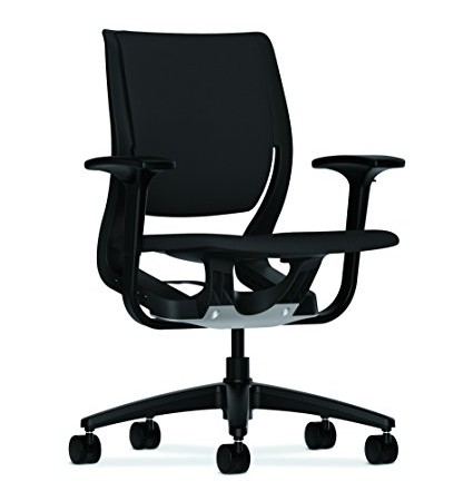 HON Purpose Onyx Shell Mid-Back Chair with Adjustable Arms for Office or Computer Desk, Black Fabric