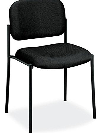HON Guest Chair - Leather Stacking Chair Office Furniture, Black (VL606)