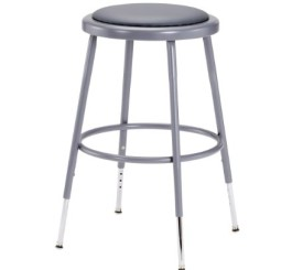 "National Public Seating 6418H Grey Steel Stool with Vinyl Upholstered Seat Adjustable, 19""-27"""