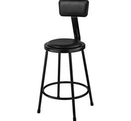 National Public Seating Stool with Padded Seat and Backrest