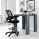 Modway Veer Drafting Chair In Black – Reception Desk Chair – Tall Office Chair For Adjustable Standing Desks – Flip-Up Arm Drafting Table Chair… 4