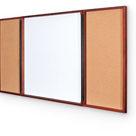Best Rite Executive Conference Cabinet, Dry Erase Whiteboard, Interior Tackboard Door Panels, 36 by 36-Inch, Mahogany (841C)