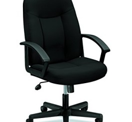HON HVL601.VA10 Series Mid-back Chair with Loop Arms, Black