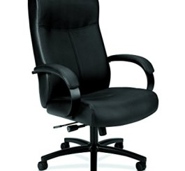 HON VL685 Leather Big and Tall Chair for Office or Computer Desk, Black
