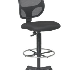 "Office Star Deluxe Mesh Back Drafting Chair with 20"" Diameter Adjustable Footring, Black Fabric Seat"