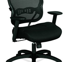 HON Mid-Back Chair - Mesh Office or Computer Chair with Adjustable Arms, Black (VL712)