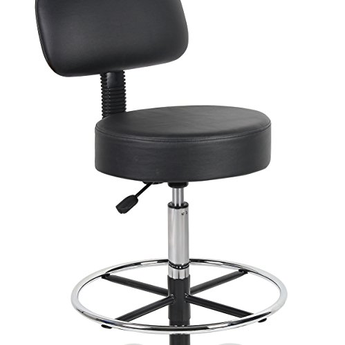 Black Boss Office Products B16245 Bk Be Well Medical Spa Drafting Stool With Back