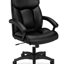 HON Leather Executive Chair - High-Back Computer Chair for Office Desk, Black (VL151)