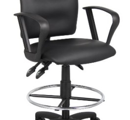 Boss Office Products B1647 Multi-Function LeatherPlus Drafting Stool with Loop Arms in Black