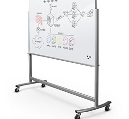 Best-Rite Visionary Move Double Sided Mobile Magnetic Glass Whiteboard Easel, 4x6 Feet, (74951)