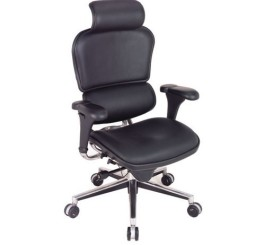 Eurotech Seating Ergohuman Collection High Back Ergonomic Chair with Headrest in Black Leather