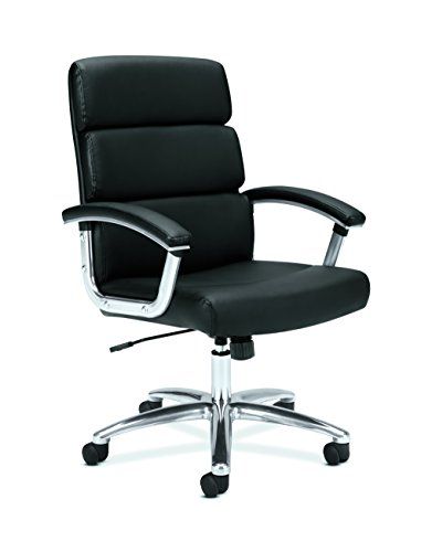 basyx by hon executive task chair mid back leather computer chair