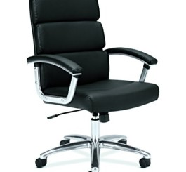 HON Executive Task Chair - Mid Back Leather Computer Chair for Office Desk, Black (VL103)