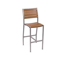 BFM Largo Synthetic Teak Barstool With Silver Finish Model Ph102Btksv