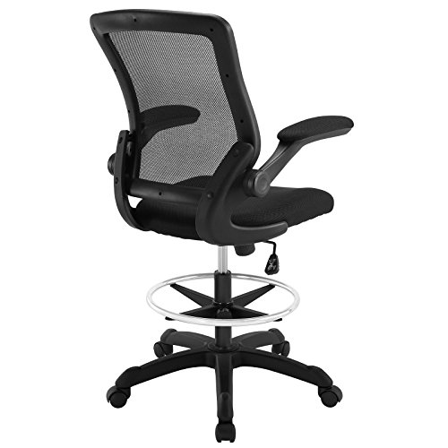 Modway Veer Drafting Chair In Black Reception Desk Chair