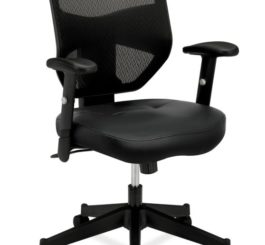 HON Prominent Mesh High-Back Task Chair, Black SofThread Leather Seat (HVL531.SB11)
