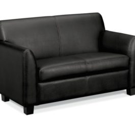 HON Circulate Tailored Two-Cushion Loveseat, Black SofThread Leather (HVL872.SB11)