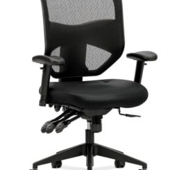 HON Prominent Mesh High-Back Task Chair, Black Leather (HVL532.SB11)